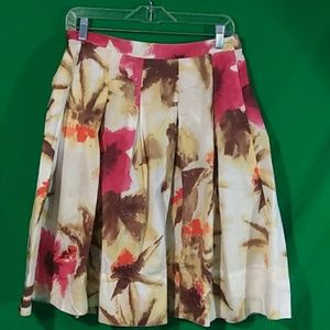 Talbots pleated floral skirt 4P